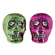 Cocinaware Day Of The Dead Green and Pink Skull Metal Salt & Pepper