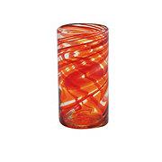 Cocinaware Red & Orange Swirl Mexican Bubble Glass High Ball Tumbler