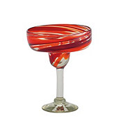 Cocinaware Red & Orange Swirl Mexican Bubble Glass Margarita Glass