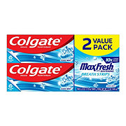 Colgate Max Fresh With Mini Breath Strips Cool Mint Toothpaste Twin Pack