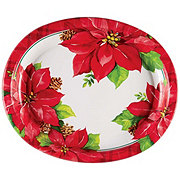 Creative Converting Oval Platter Xmas Poinsettia