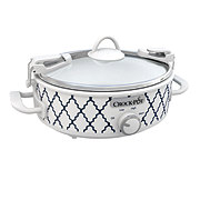 Crock-Pot Mini Oval Slow Cooker, White/Blue Pattern