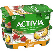 Dannon Activia Fiber Low-Fat Strawberry & Pineapple with Cereal Yogurt Variety Pack