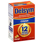 Delsym 12 Hour Cough Relief Day or Night Cough Suppressant Orange Flavored Liquid