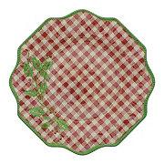 Dining Style Christmas Gingham Melamine Dinner Plate