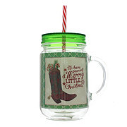 Dining Style Christmas Lone Star Arc Mason Jar Tumbler, Green