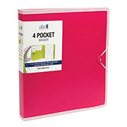DocIt 4 Pocket 1 Inch D Ring Binder, Assorted Colors