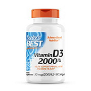 Doctor's Best Vitamin D-3 2000 IU Softgel Capsules