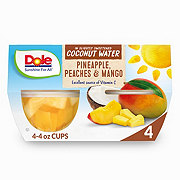 Dole Coconut Water Fruit Cups Pineapple Peach and Mango