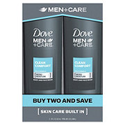 Dove Men+Care Clean Comfort Body and Face Wash Twin Pack