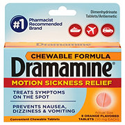 Dramamine Chewable Formula Motion Sickness Relief Tablets Orange Flavored