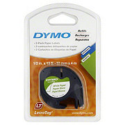 Dymo Letra Tag White Paper Labels Refills, 1/2