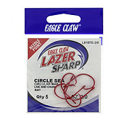 Eagle Claw Lazer Sharp L8197G Red Sea Guard Circle Sea Hook Size 2/0