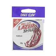 Eagle Claw Lazer Sharp Red Kahle Hook, Size 2/0