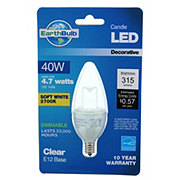 EarthTronics 315 Lumen B11 Blunt Tip Candle LED Clear E12 Base Soft White EarthBulb