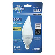 Earthtronics 500 Lumen BA13 Bent Tip Candle LED Frost E12 Base Soft White EarthBulb