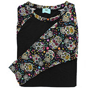 EHL Day Of The Dead Skull Sleeve Raglan Three Quarter Large Tee
