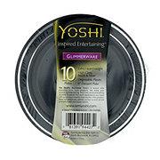 EMI Yoshi Glimmerware Black & Silver Dessert Plates,  6 inch