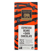 Endangered Species Dark Chocolate With Espresso Beans 72% Cocoa