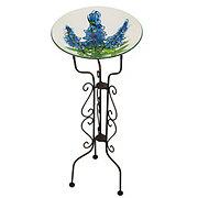 Evergreen Bluebonnet Glass Birdbath
