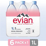 Evian Natural Spring Water 1 L Bottles