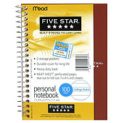 FIVE STAR Personal Spiral Notebook, College Ruled, Assorted Colors