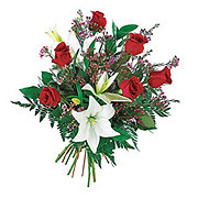 Floral Hand-Tied Standard Half Dozen Roses with Lily Bouquet
