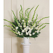 Floral Traditional Gladiola Basket Arrangement with Handle