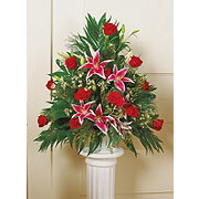 Floral Traditional Rose and Lily Basket Arrangement with Handle