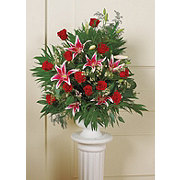 Floral Traditional Rose Lily Basket Arrangement