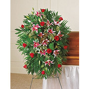 Floral Traditional Rose Lily Standing Easel Spray