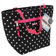 Fridge Pak Printed Lunch Tote, Black with White Dots