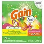 Gain Hawaiian Aloha with Febreze Freshness HE Powder Laundry Detergent, 95 Loads