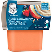 Gerber 2nd Foods Apple Strawberry Blueberry with Mixed Cereal 2 pk