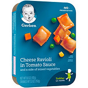 Gerber Cheese Ravioli in Tomato Sauce and a Side of Mixed Vegetables