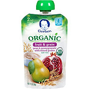 Gerber Organic 2nd Foods, Fruit & Grains Pear Pomegranate Wit Mix Grain