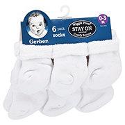 Gerber White Terry Socks, 6 PK