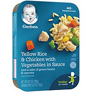 Gerber Yellow Rice & Chicken with Vegetables in Sauce and a Side of Green Beans & Carrots