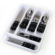 Gibson Casual Living Flatware Set with Plastic Tray, Black