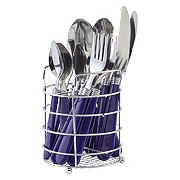 Gibson Home Sensations Flatware Set with Wire Caddy, Cobalt