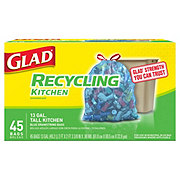 Glad Drawstring Recycling Translucent Blue Tall Kitchen 13 Gallon Trash Bags