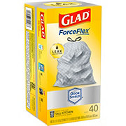 Glad ForceFlex Drawstring Tall Kitchen 13 Gallon Trash Bags