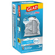 Glad ForceFlex Plus OdorShield Fresh Clean Scent Drawstring Tall Kitchen 13 Gallon Trash Bags