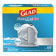 Glad ForceFlex Plus OdorShield Fresh Clean Scent Drawstring Tall Kitchen 13 Gallon Trash Bags