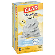 Glad OdorShield Fresh Clean Scent Tall Kitchen Drawstring Trash Bags, 13 Gallon