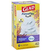 Glad OdorShield Mediterranean Lavender Scent Drawstring Tall Kitchen 13 Gallon Trash Bags