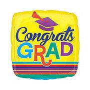 Graduation Congrats Grad Stripes Foil Balloon