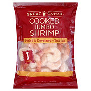 Great Catch Frozen Cooked Jumbo Shrimp Peeled and Deveined Tail-On, 26/30 ct