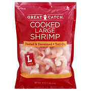 Great Catch Frozen Cooked Large Shrimp Peeled and Deveined Tail-On, 41/50 ct