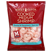 Great Catch Frozen Cooked Medium Shrimp Peeled and Deveined Tail-Off, 71/90 ct